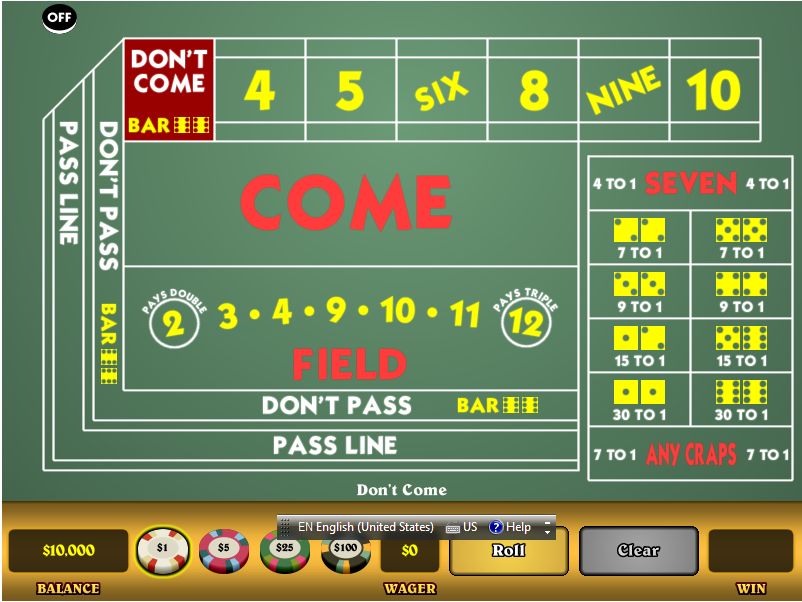 Play craps on the
