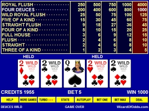 Video poker jacks or better cheat sheet