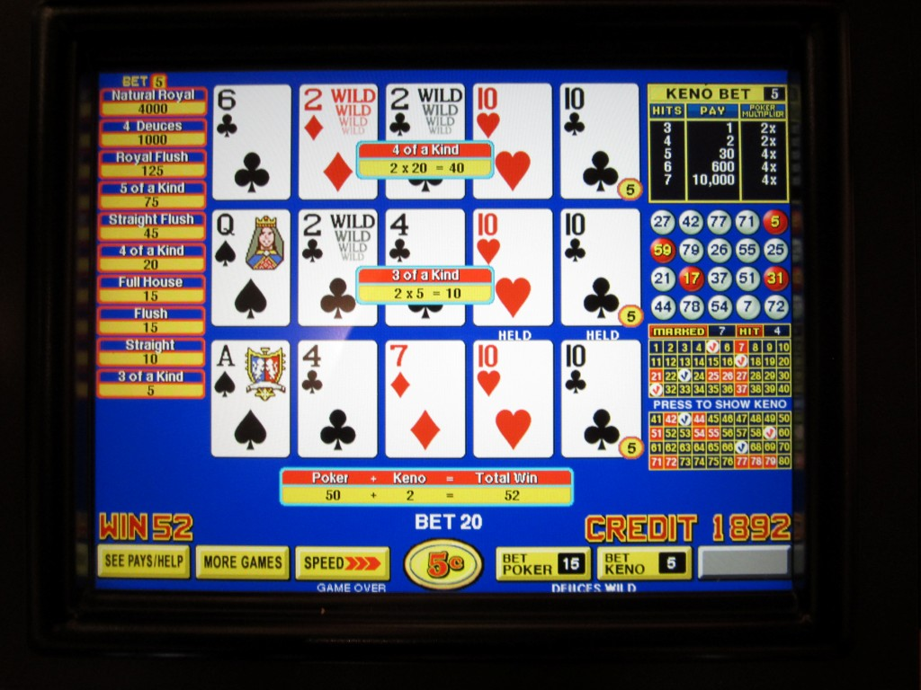 video poker pay table
