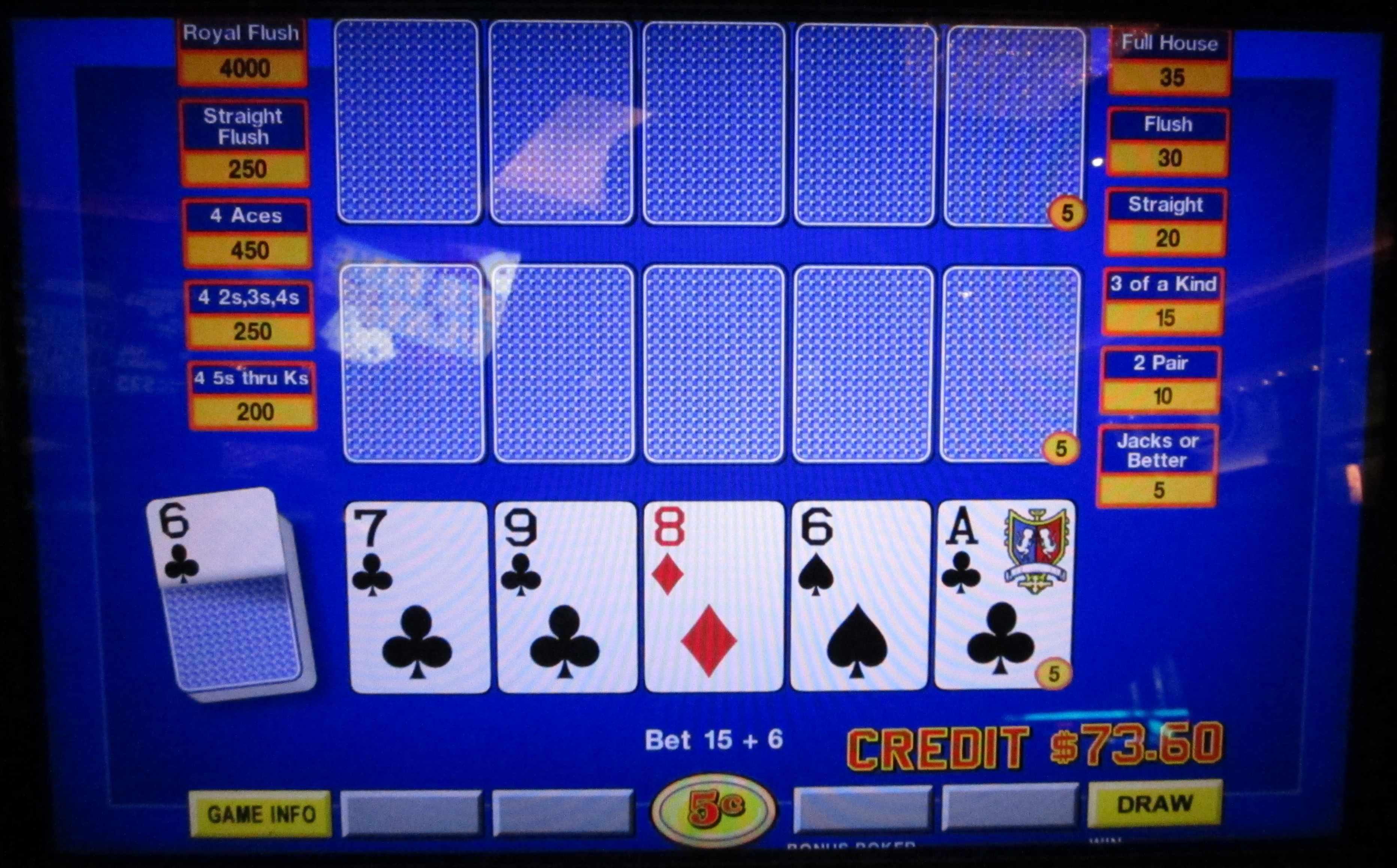5 card draw poker odds chart outside the lines