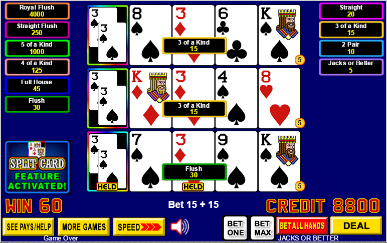Card Of The Two Jack Of Spades On The Draw In The First Position Of The Bottom Hand That Combined With Two Natural Jacks Gave Me A Four Of A Kind