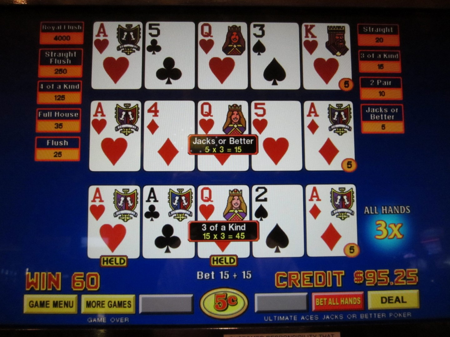 probability of 3 aces in poker