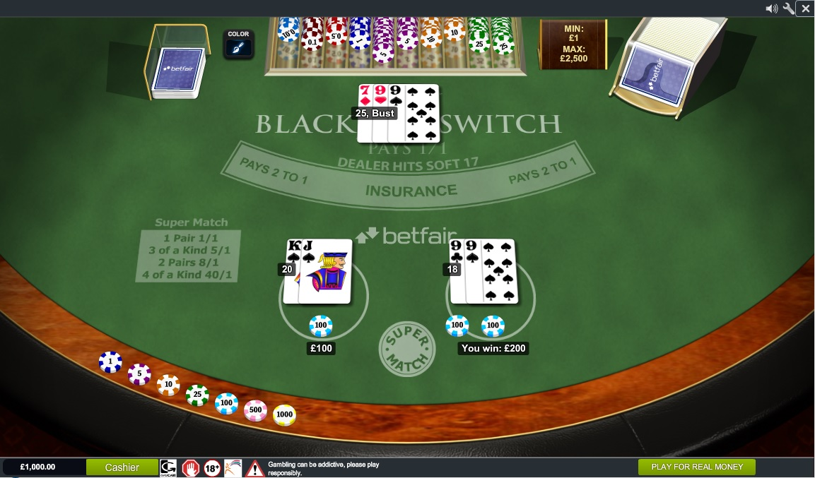 Blackjack switch game rules