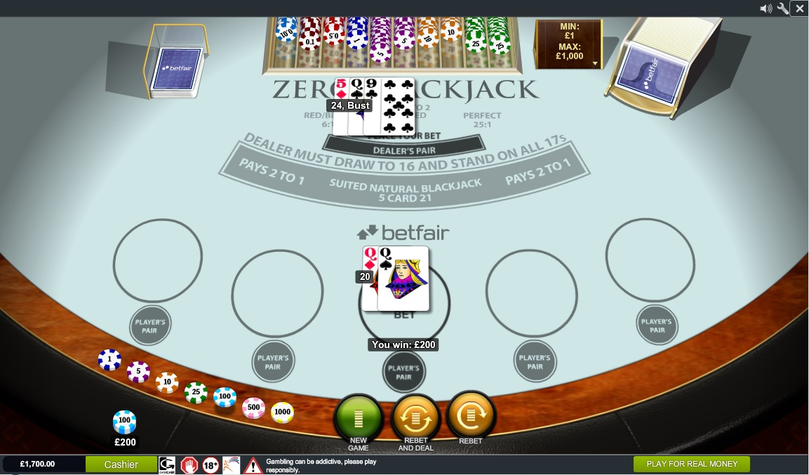 Zero blackjack wizard of odds