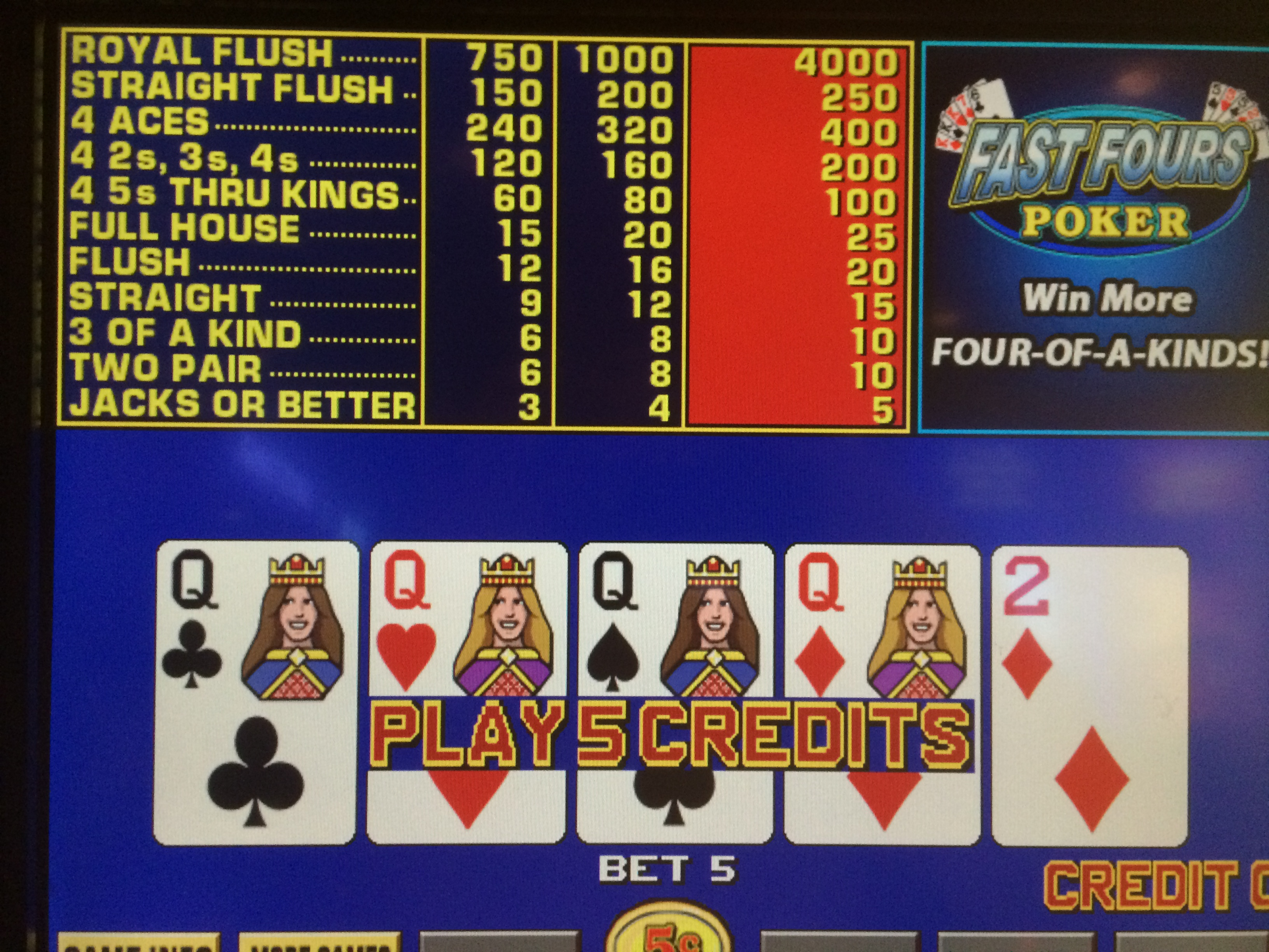 video poker jacks or better royal flush odds