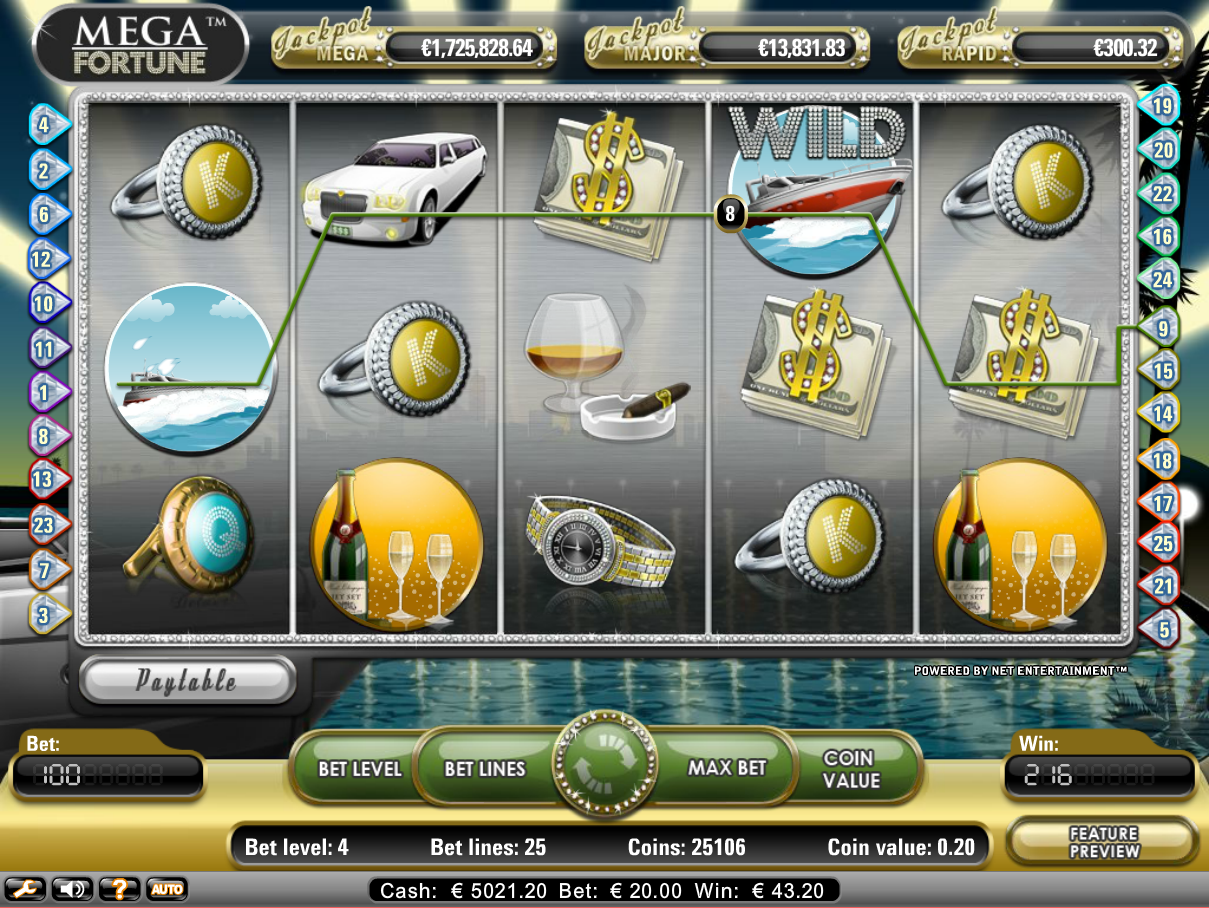 online betting casino mega fortune