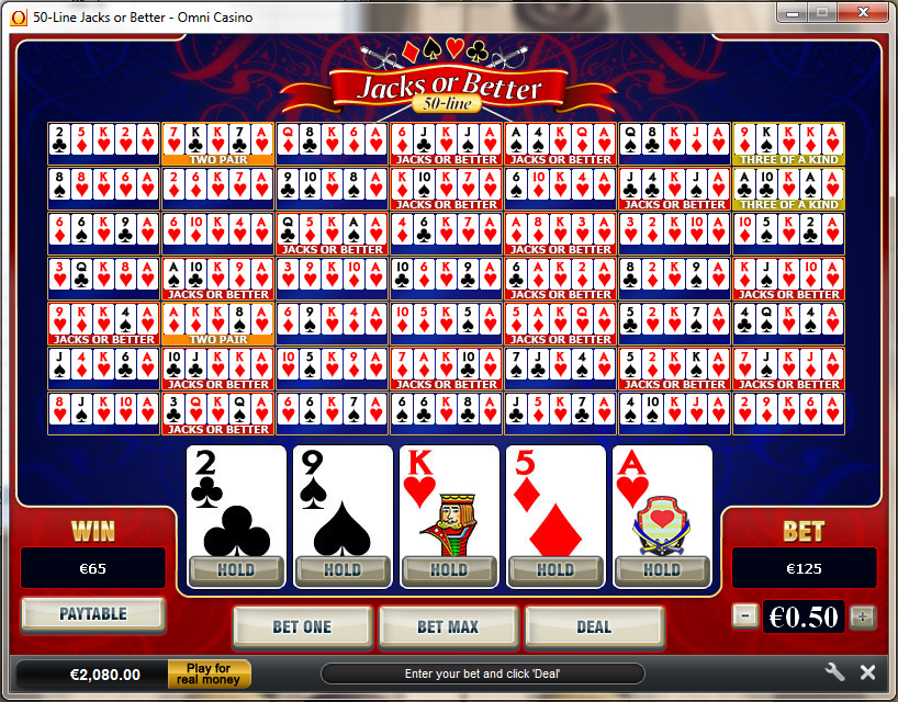 Play 50 Line Joker Poker Videopoker Online at Casino.com NZ