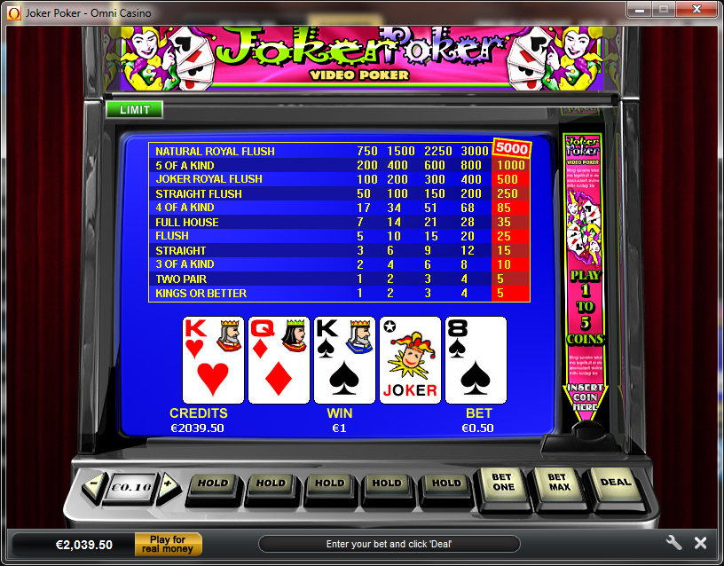 online casino gambling joker poker