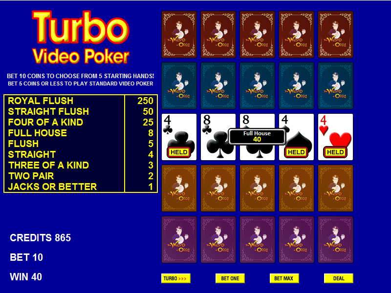 Wizard odds video poker free slots for real cash