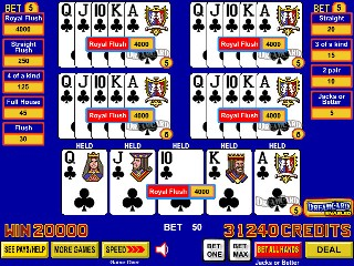 odds of getting a royal flush in video poker