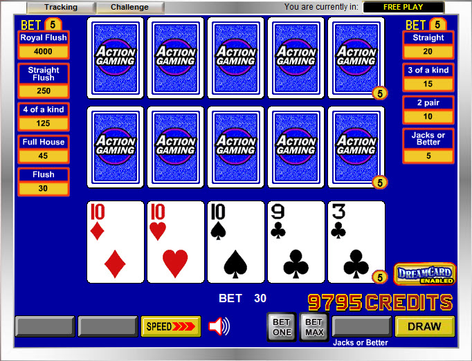 video poker return tables
