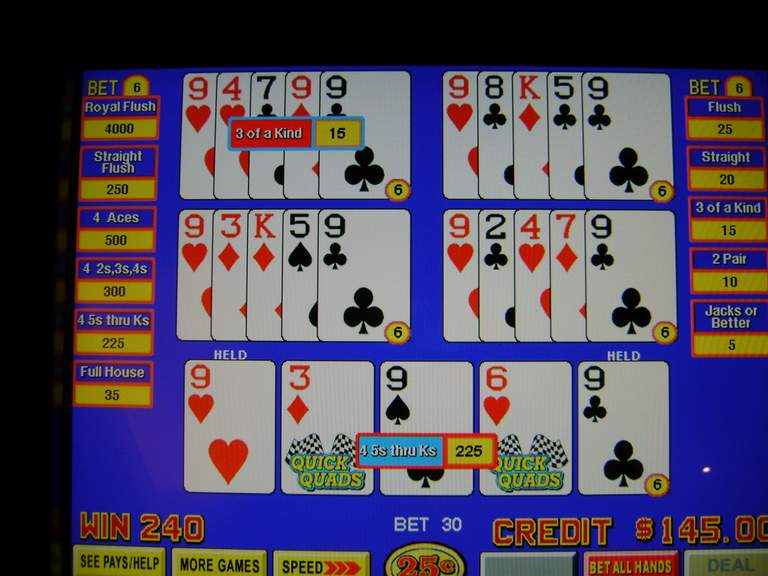 How to play quick quads video poker sex and the city slot machine for sale