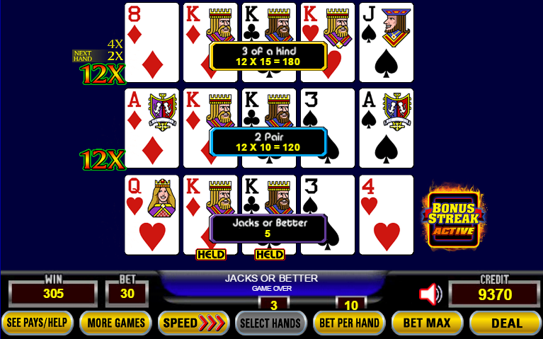 Ultimate X Poker Bonus Streak