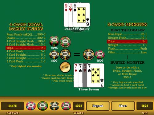 3 card fury example