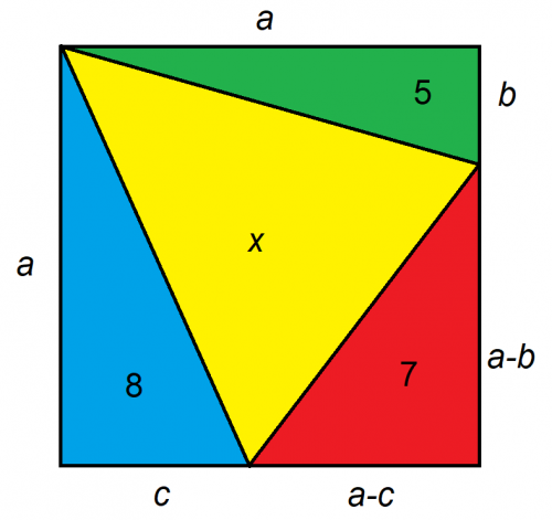 four triangles in a square solution