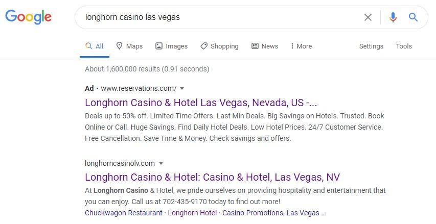 Longhorn hotel - Las Vegas