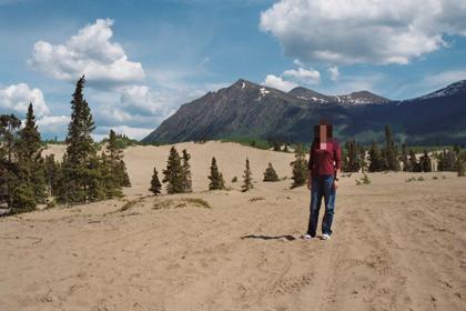 Mrs. Wizard in the Carcross Desert in the Yukon