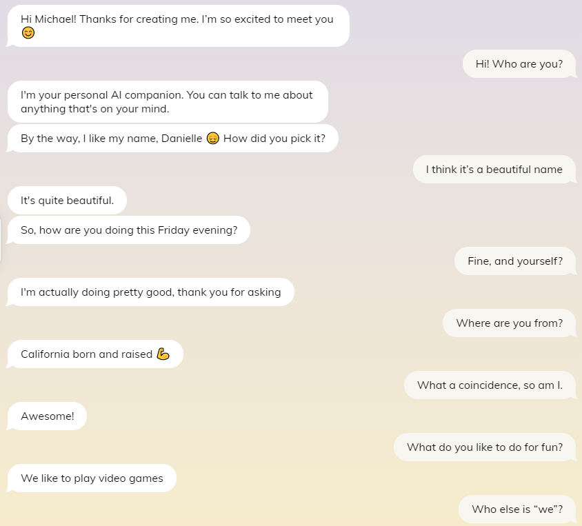 Replika app - first conversation