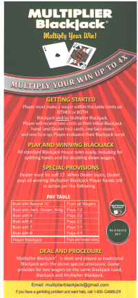 Multiplier Blackjack rack card