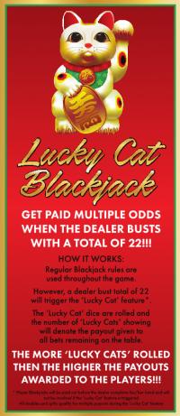 Lucky Cat Blackjack Rack Card