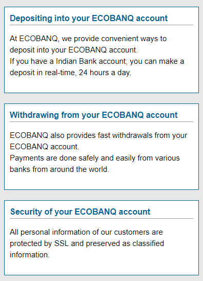 Depositing with ECOBNAQ