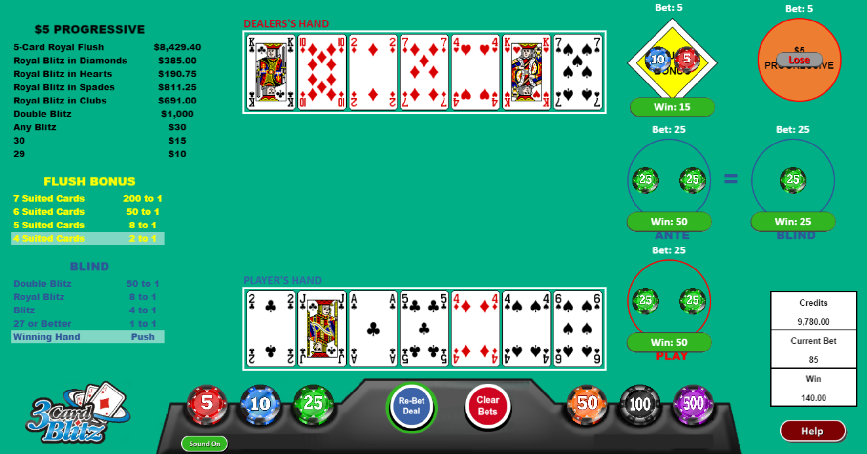 progressive betting 3 card poker