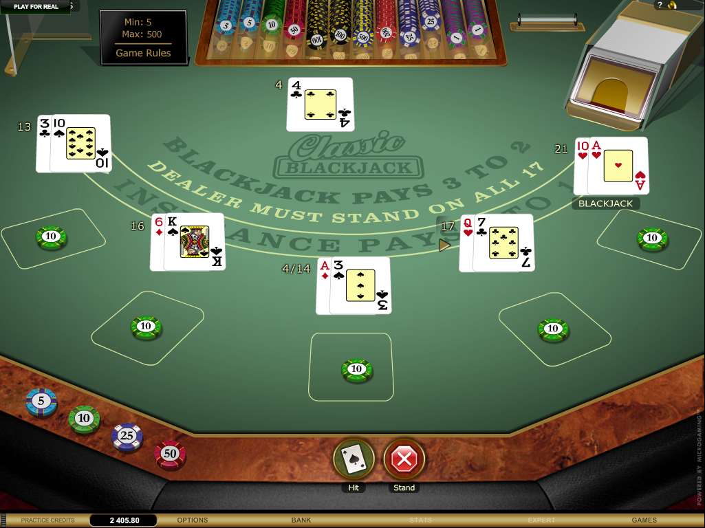 Virtual blackjack table - Classic Blackjack