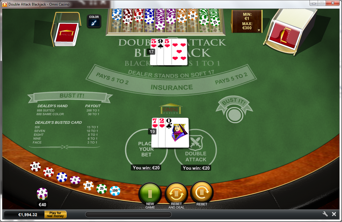 Double attack blackjack wizard of odds