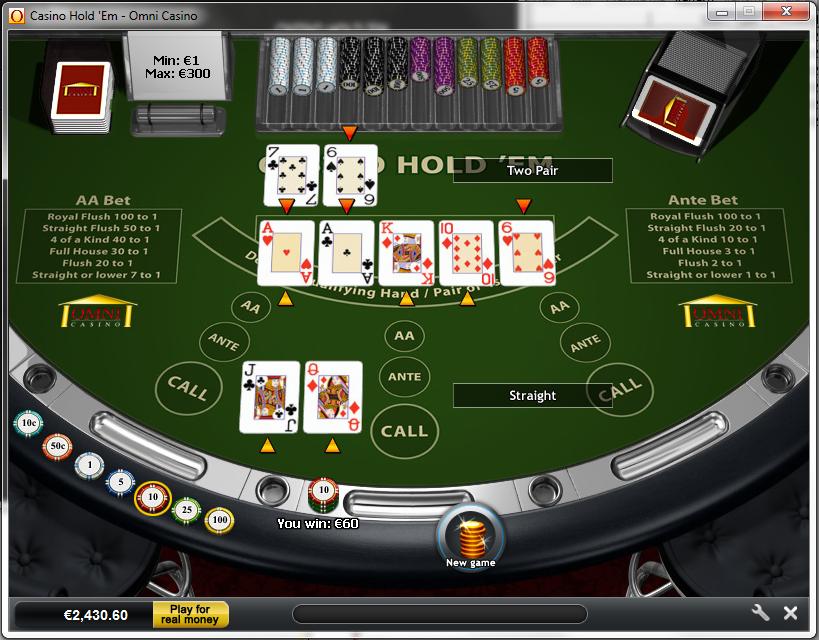 casino holdem odds