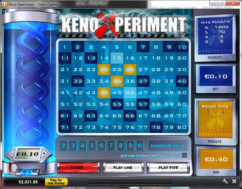 Online keno odds