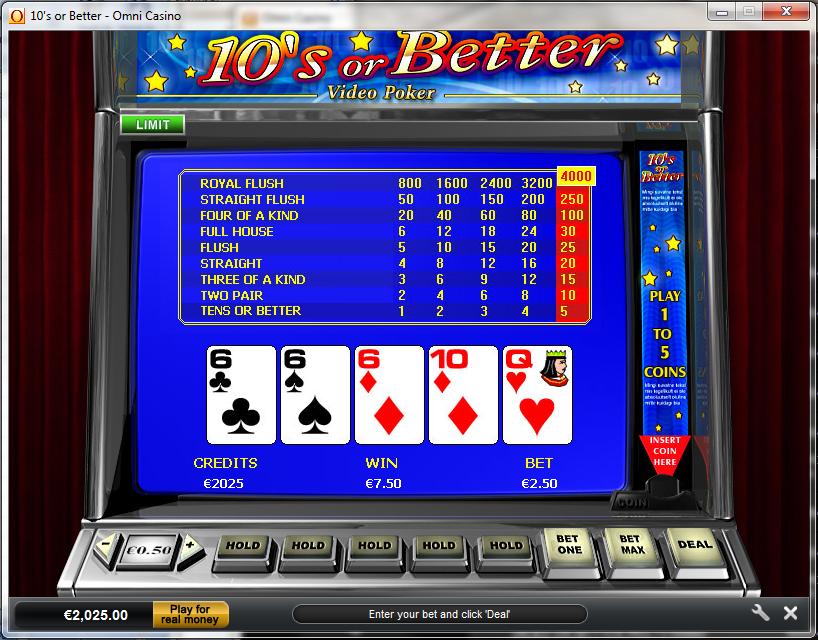Play 4-Line Jacks or Better Video Poker Online at Casino.com
