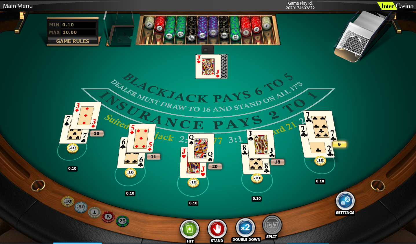 Blackjack table top view - Other Games