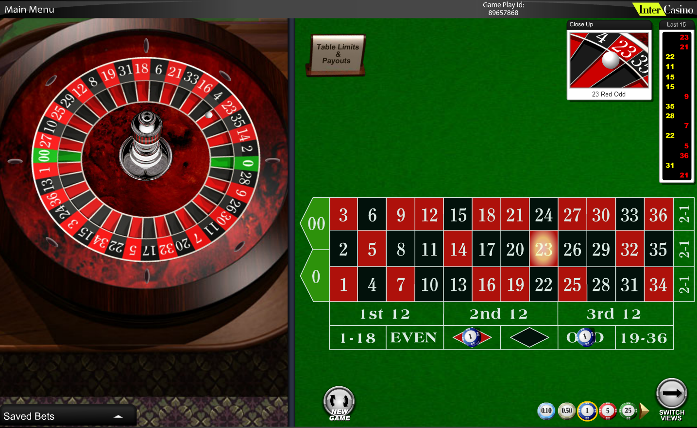Roulette double zero wheel layout