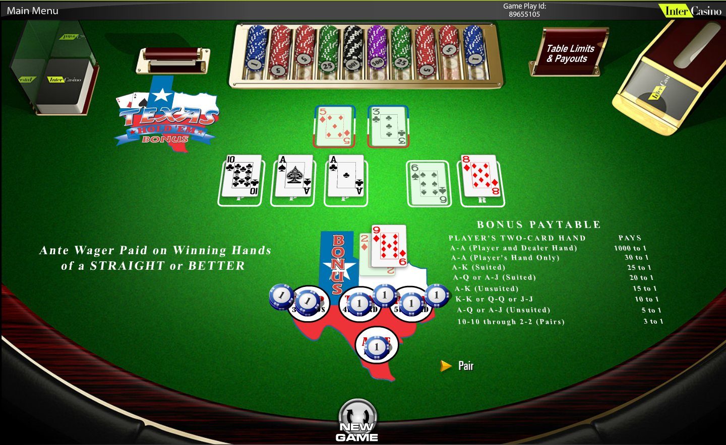 texas holdem poker table