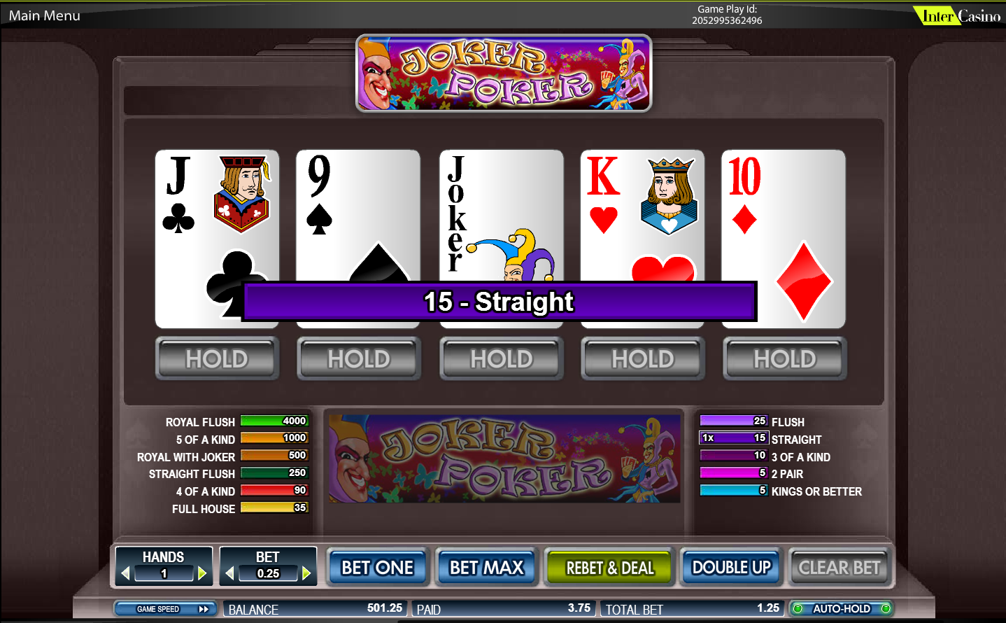 Play 50 Line Joker Poker Video Poker Online at Casino.com