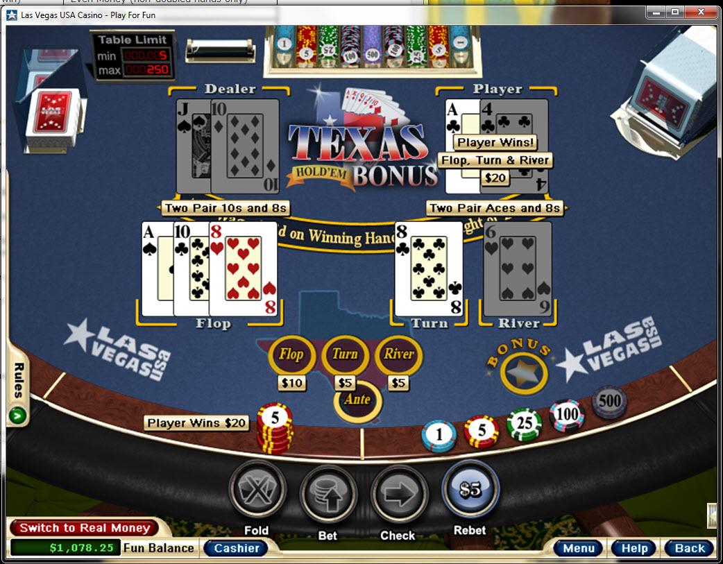 casino texas holdem bonus odds