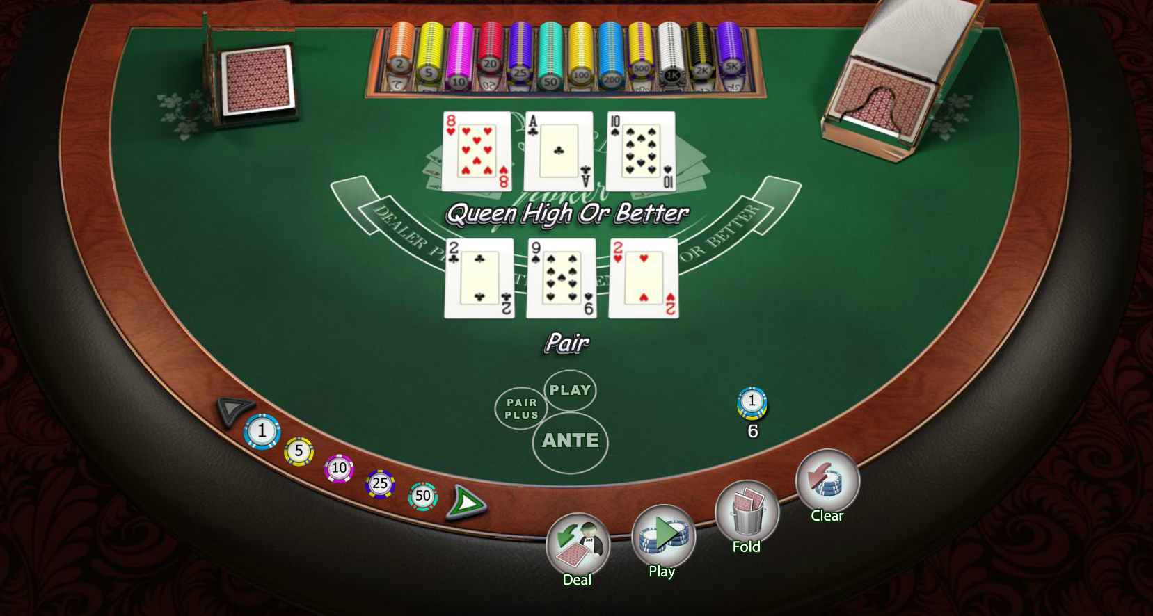 3 card poker odds in a casino