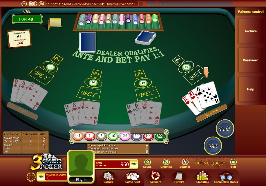 Three card poker house edge calculator