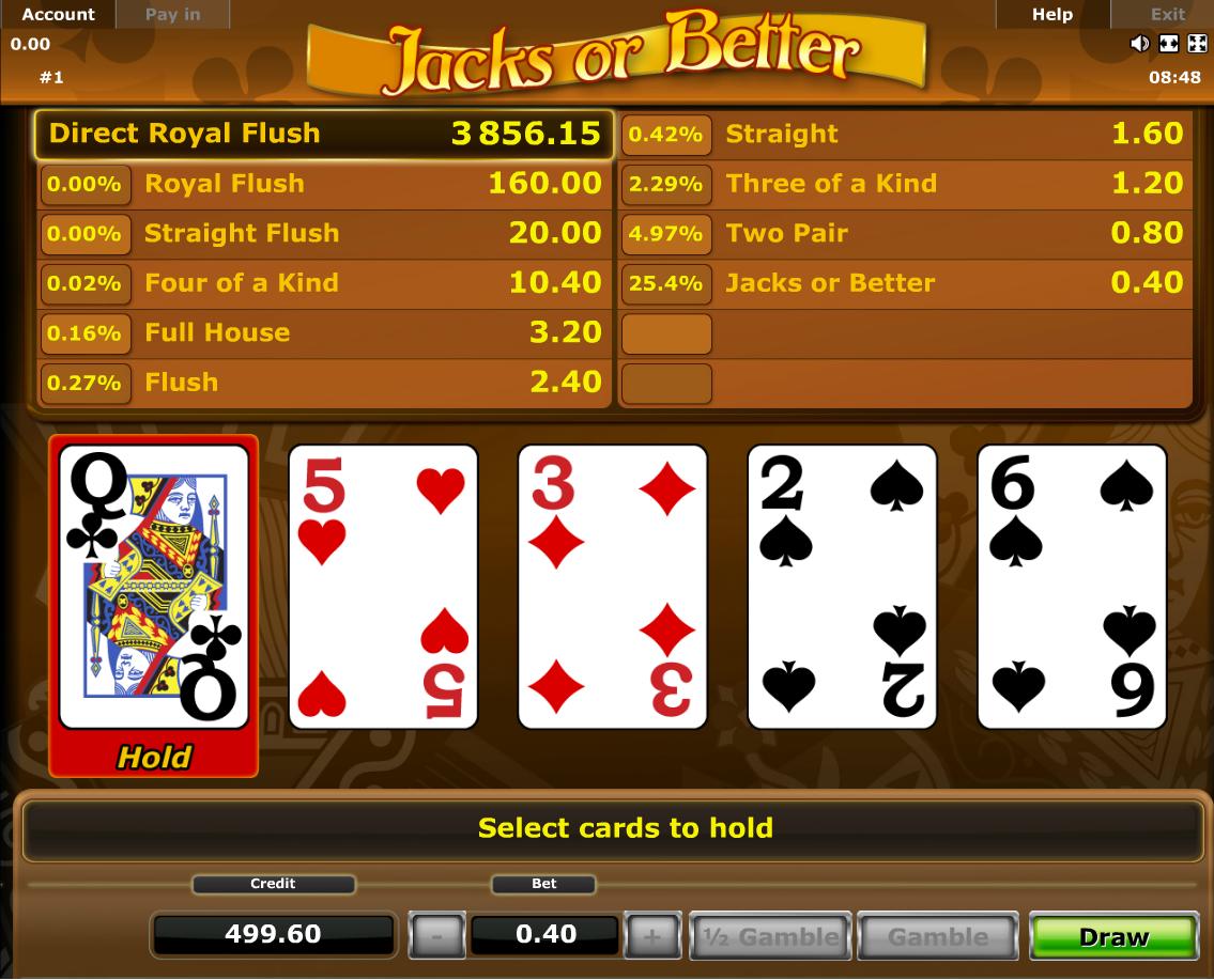 jacks or better odds