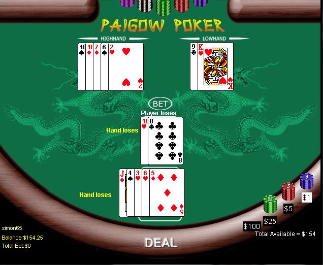Odds of winning at pai gow poker trademark folding poker table