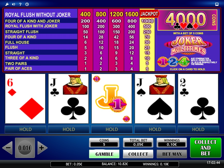 online casino table games joker online